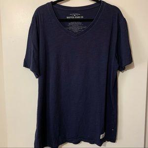 Nautical Navy V-neck Short Sleeve T-Shirt